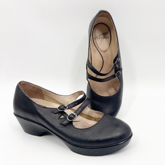 Josie Mary Jane Black Heeled Clogs 40
